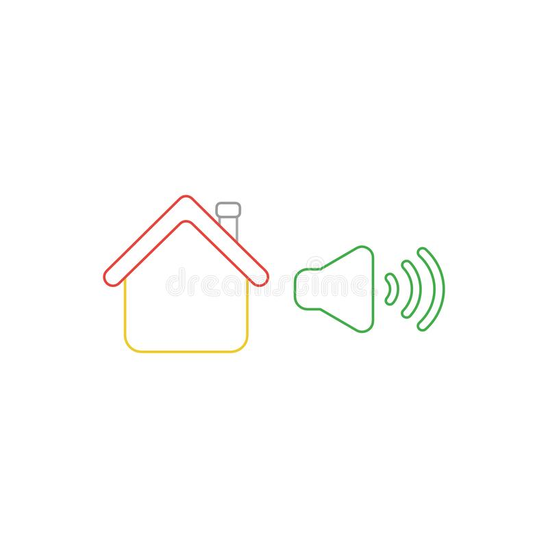 Vector icon concept of house with high speaker sound, loud voice. Vector icon concept of yellow house with green high speaker sound, loud voice. White background vector illustration