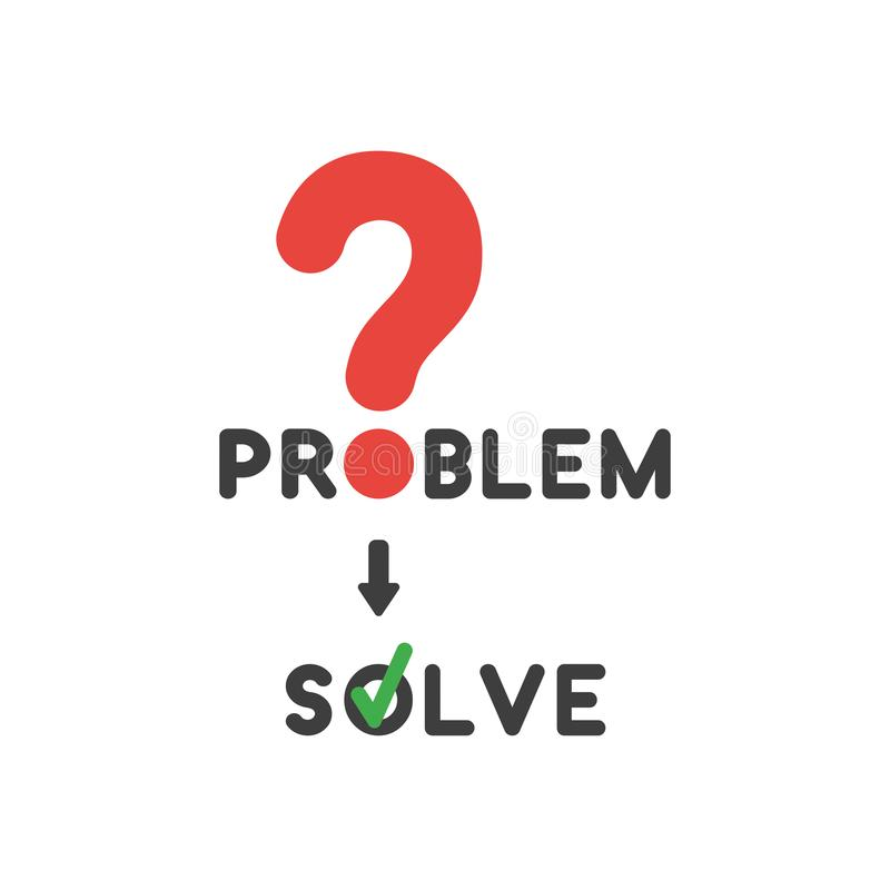 Vector icon concept of problem word with question mark and solve vector illustration