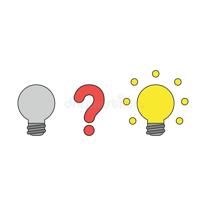 Vector icon concept of question mark between two light bulbs stock illustration