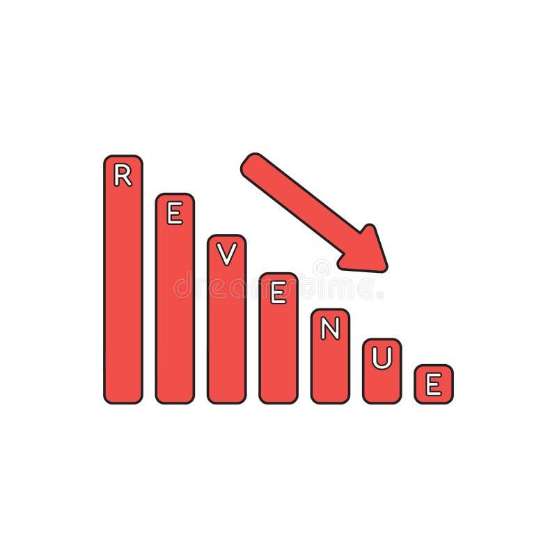 Vector Icon Concept Of Revenue Sales Bar Graph Down. Black ...