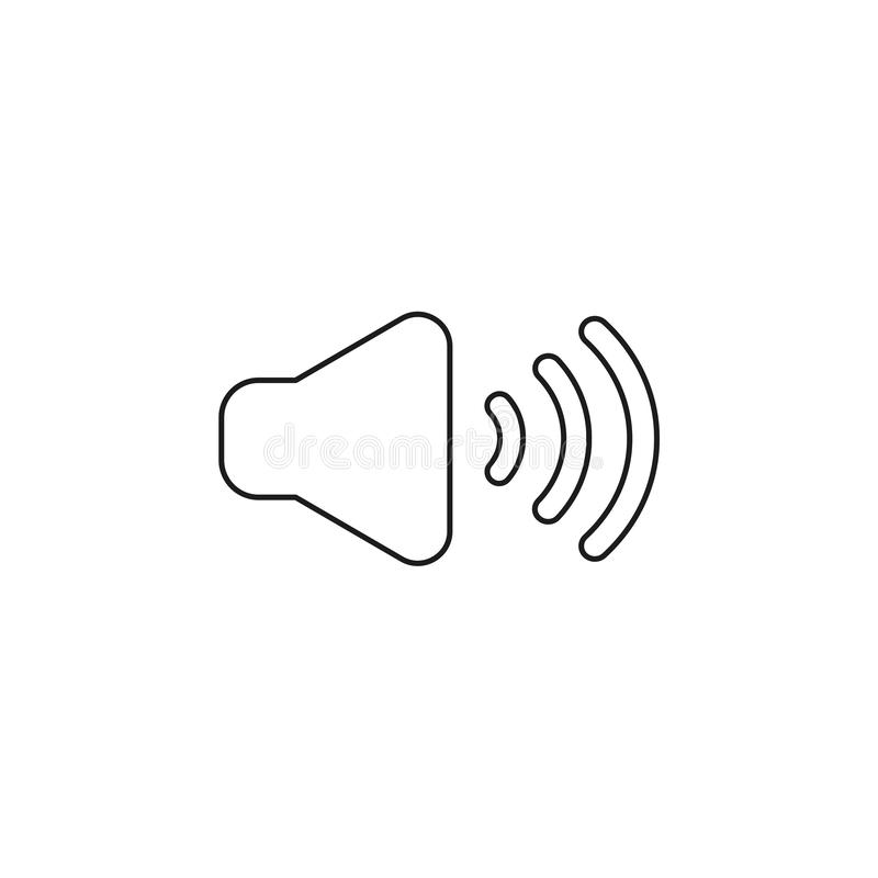 Vector icon concept of sound on. Black outlines. Vector illustration icon concept of sound on. Black outlines stock illustration