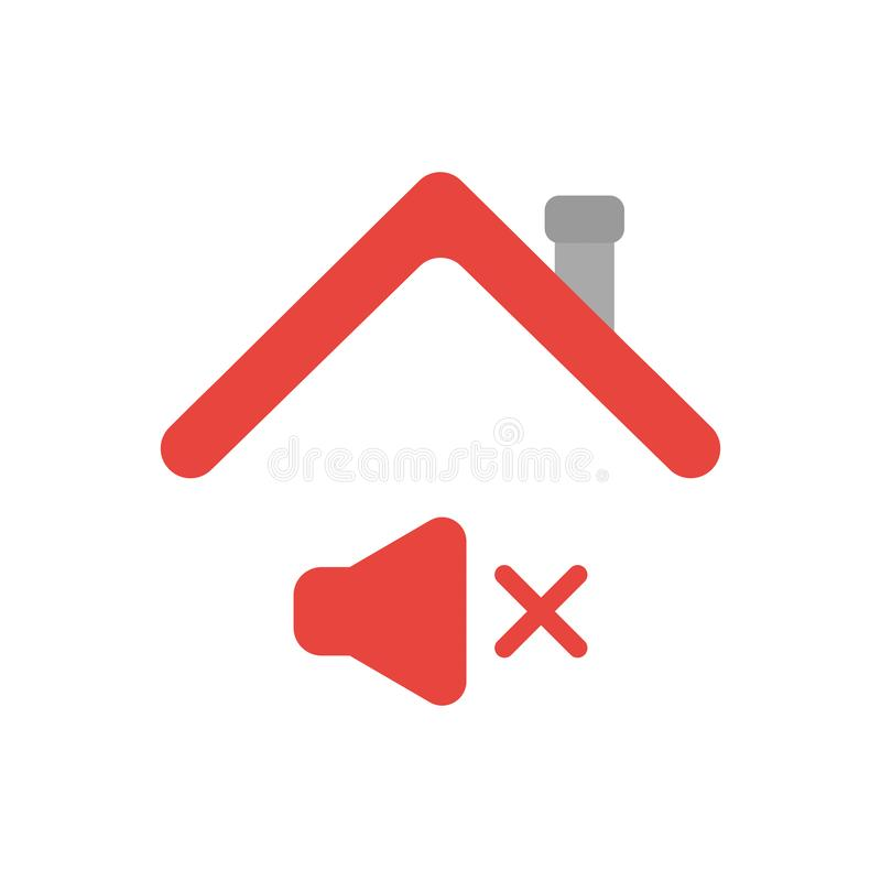 Vector icon concept of sound off symbol under house roof. Vector illustration icon concept of sound off symbol under house roof stock illustration