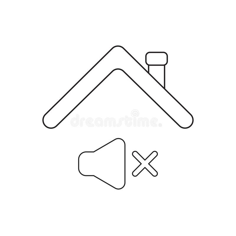 Vector icon concept of sound off symbol under roof. Black outlines, white background stock illustration