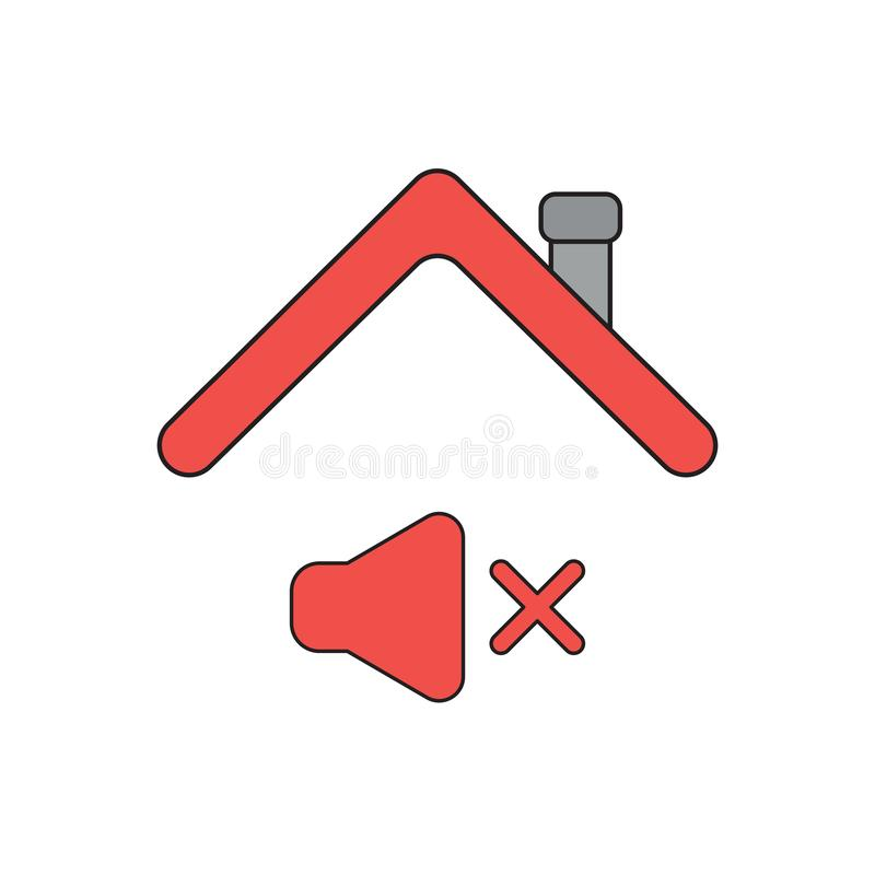 Vector icon concept of sound off symbol under roof. Vector icon concept of sound off symbol under house roof. Black outlines and colored royalty free illustration