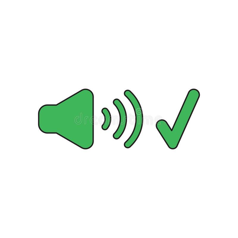 Vector icon concept of sound on symbol with check mark. Black outlines and colored. Vector icon concept of green sound on symbol with check mark. Black outlines stock illustration