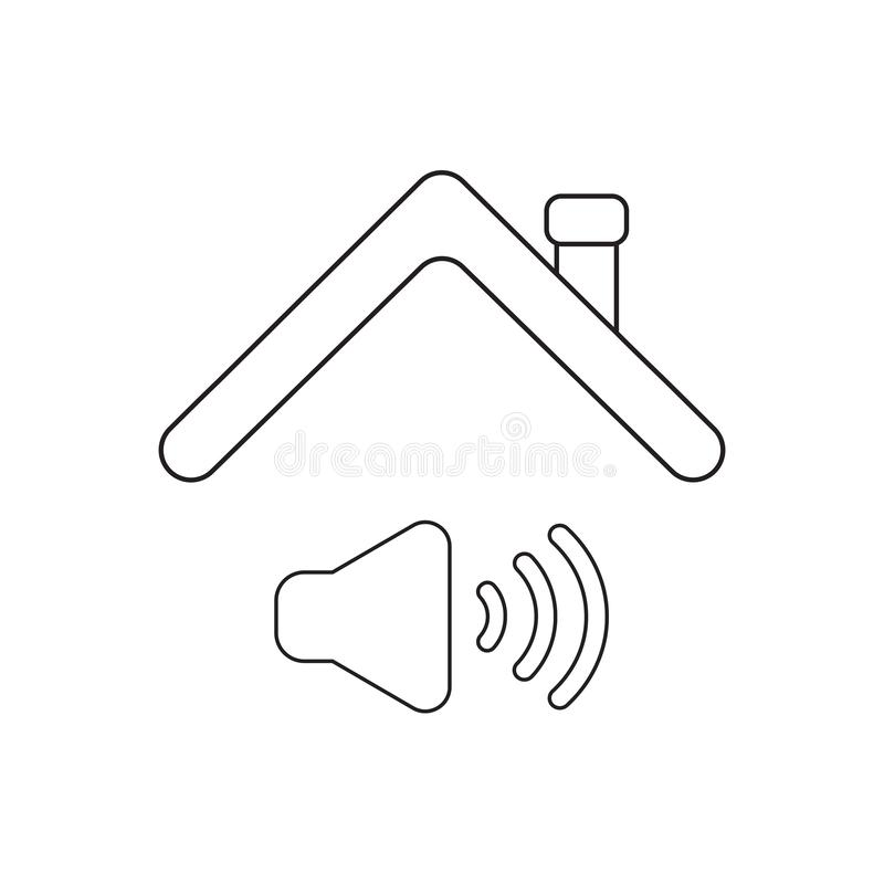 Vector icon concept of sound on symbol under roof. Black outlines, white background royalty free illustration