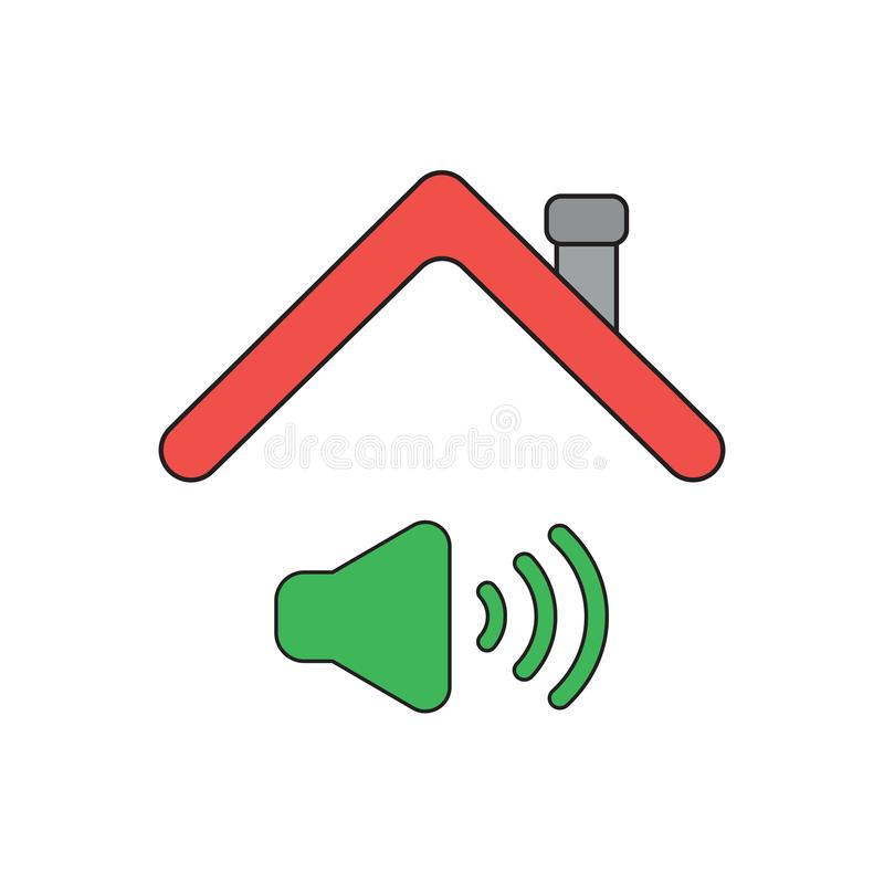 Vector icon concept of sound on symbol under roof. Vector icon concept of sound on symbol under house roof. Black outlines and colored stock illustration