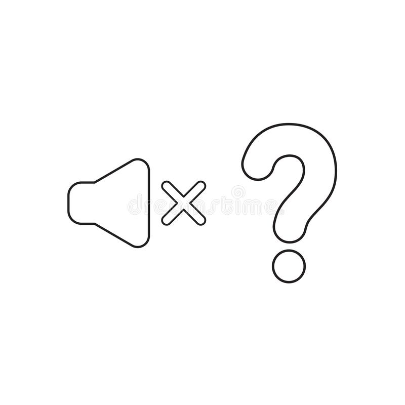 Vector icon concept of speaker sound off with question mark. Black outline. S stock illustration
