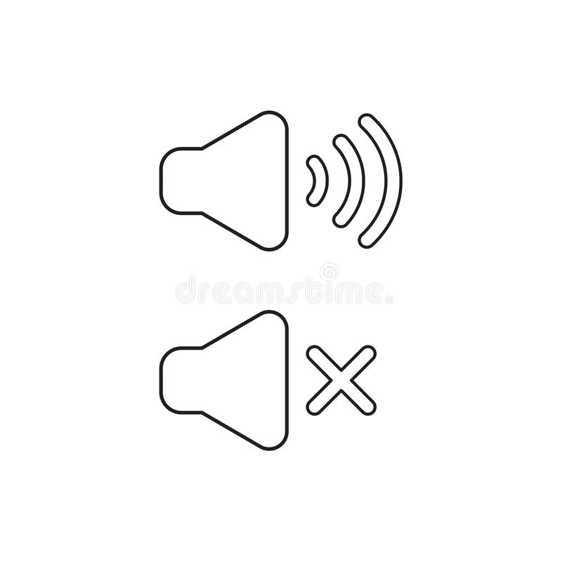 Vector icon concept of speaker sound symbols on and off. Black outline. S royalty free illustration