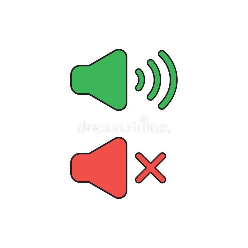 Vector icon concept of speaker sound symbols on and off. Vector icon concept of green and red speaker sound symbols on and off royalty free illustration
