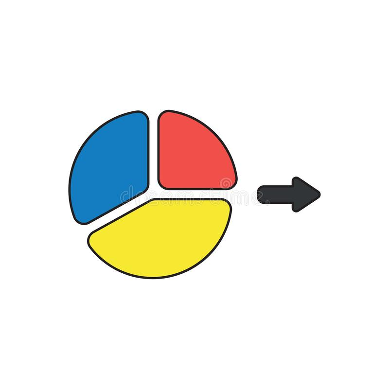 Vector icon concept of three parts diagram. Vector icon concept of three parts blue, red, yellow diagram. Black outlines and colored vector illustration