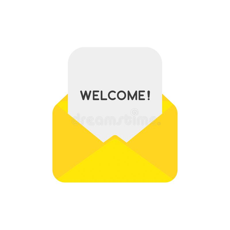 Vector icon concept of welcome paper inside mail envelope royalty free illustration