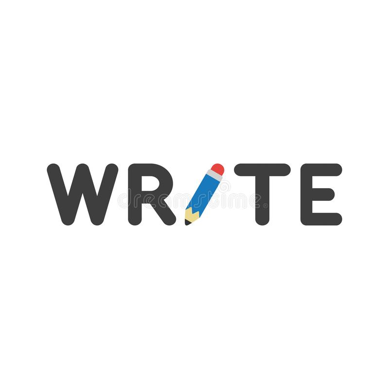 Vector icon concept of write word with pencil royalty free illustration