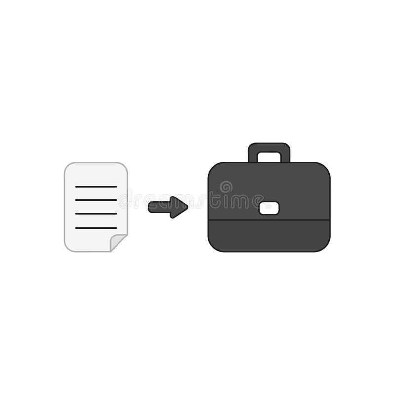 Vector icon concept of written paper into briefcase. Vector icon concept of written paper into black briefcase. Colored outlines vector illustration