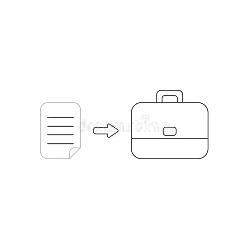 Vector icon concept of written paper into briefcase. Vector icon concept of written paper into black briefcase. White background and colored royalty free illustration