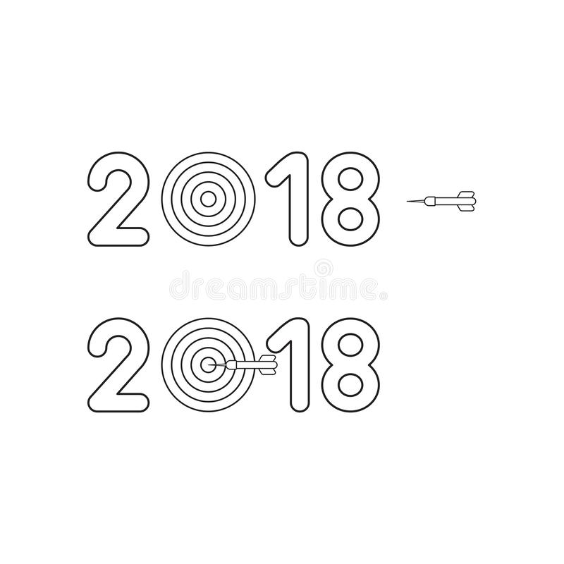 Vector icon concept of year of 2018 with bulls eye and dart royalty free illustration