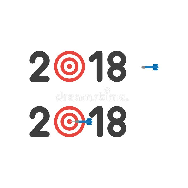 Vector icon concept of year of 2018 with bulls eye and dart in t vector illustration
