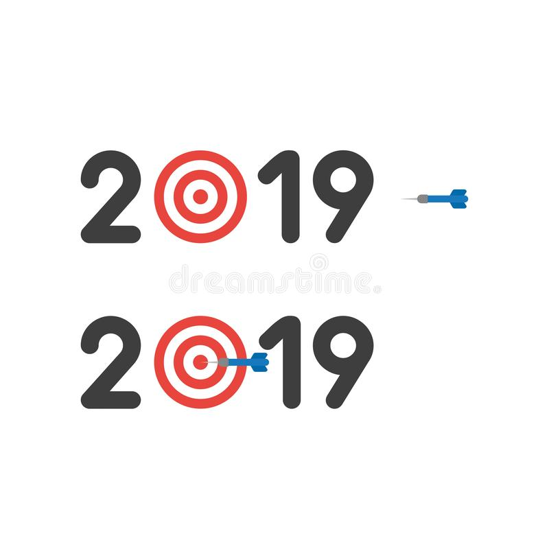 Vector icon concept of year of 2019 with bulls eye and dart in t stock illustration