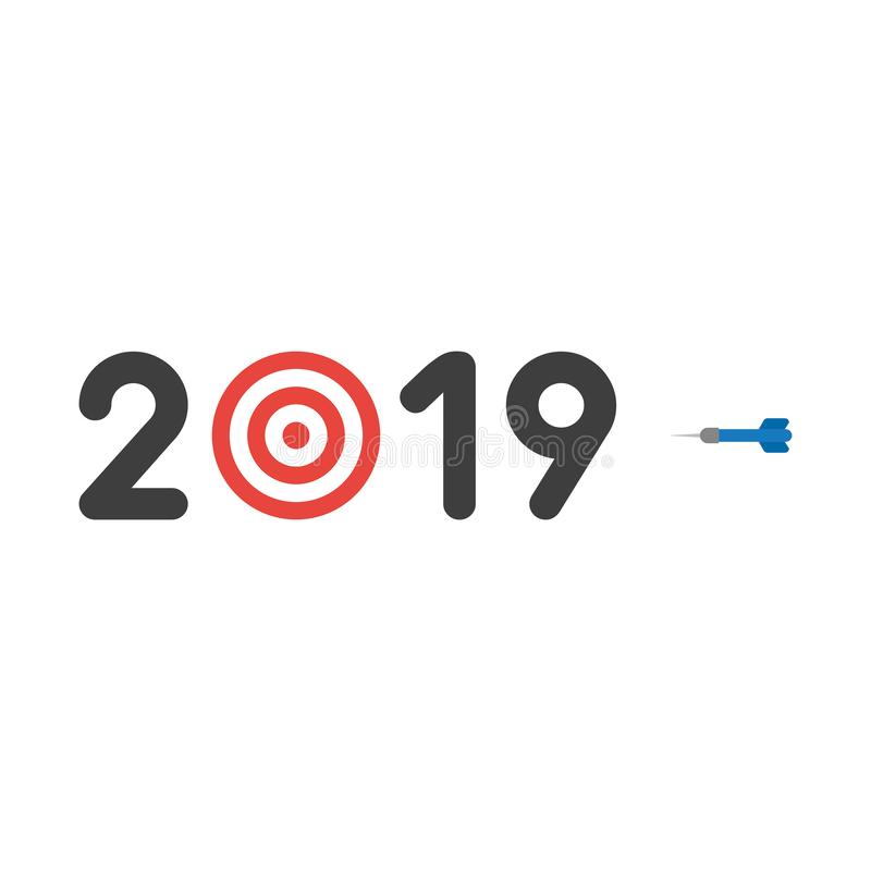 Vector icon concept of year of 2019 with bulls eye and dart stock illustration