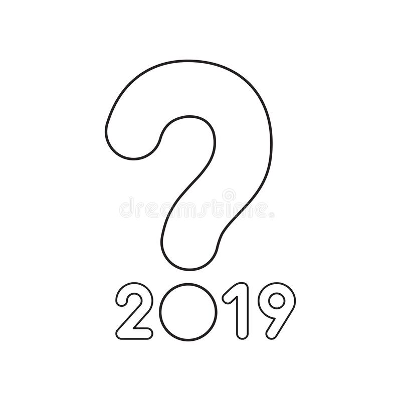 Vector icon concept of year of 2019 with question mark stock illustration