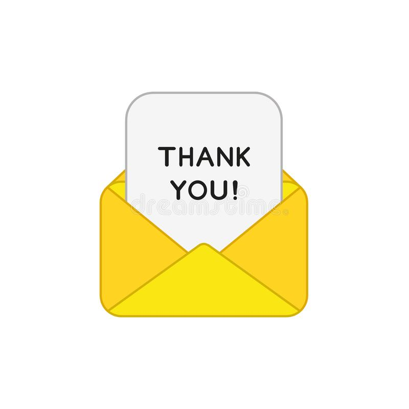 Vector icon concept of open envelope mail or message with thank you written on paper. Vector icon concept of yellow open envelope mail or message with thank you royalty free illustration