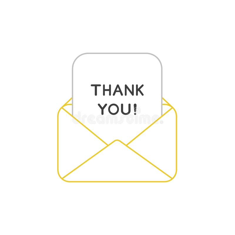 Vector icon concept of open envelope mail or message with thank you written on paper. Vector icon concept of yellow open envelope mail or message with thank you stock illustration