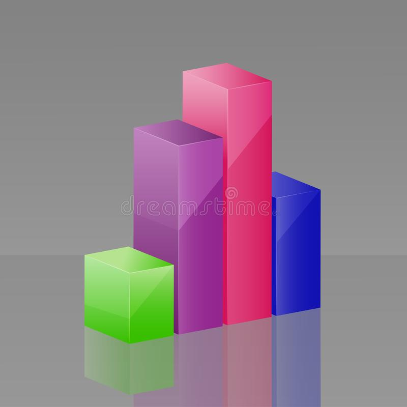 Vector icon 3d diagram consisting of columns. Layers grouped for vector illustration