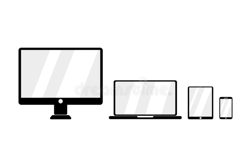 Vector icon for devices. Set for devices. Empty screens. Desktop. Mobile. Laptop. Tablet. Flat design. EPS 10 vector illustration
