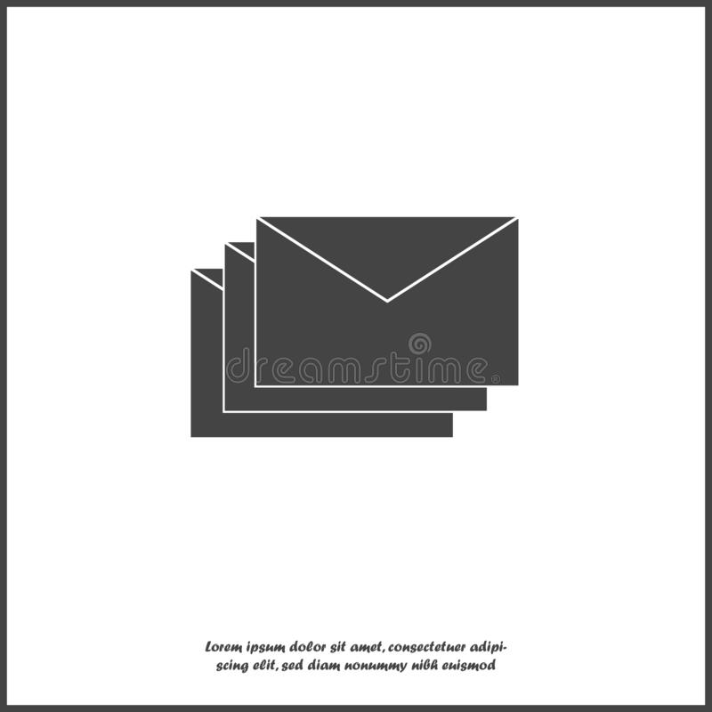 Vector icon of envelope. Paper envelope flies to the destination. Message icon in the mail on white isolated background. Layers stock illustration