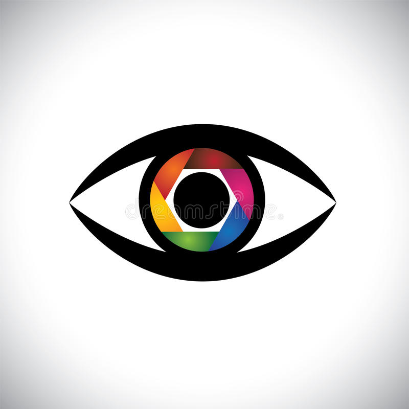 Vector icon eyes as camera with shutter. Concept vector icon eyes as camera with colorful shutter. This graphic also represents artistic ability of the royalty free illustration