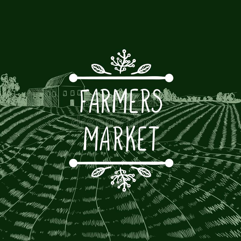 Vector Icon: Farmers Market, Farm Field Chalk Drawing and Lettering in Doodle Frame. Vector Icon: Farmers Market, Farm Field Chalk Drawing Background and royalty free illustration