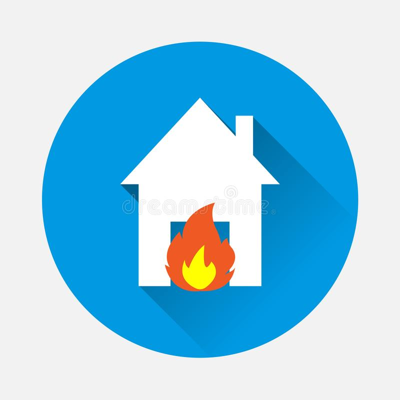 Vector icon fire in house on blue background. Flat image illustration of fire hazard with long shadow. Layers grouped for easy ed royalty free illustration