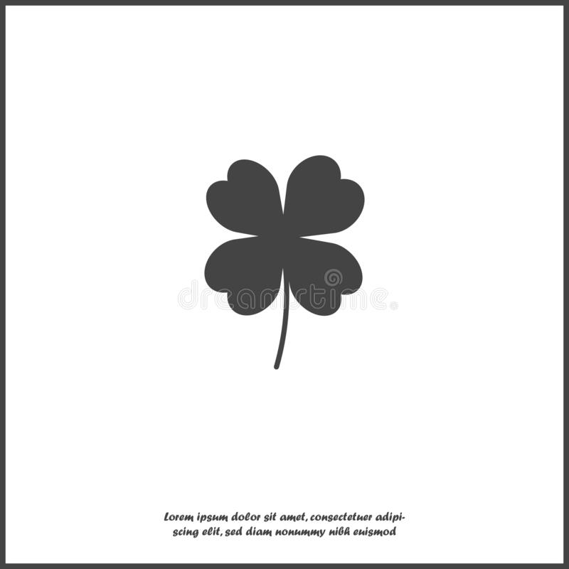 Vector icon four-leafed clover icon on white isolated background. Layers grouped for easy editing illustration. For your design stock illustration