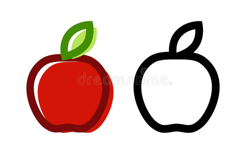 Vector icon of Fresh Apple. Colorful Illustration of fruit isolated on white stock illustration