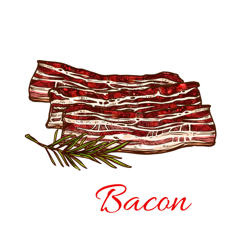 Vector icon of fresh bacon meat for butchery. Bacon meat icon for butchery shop of fresh farm product. Vector raw meat pork brisket, beefsteak lump or tenderloin stock illustration