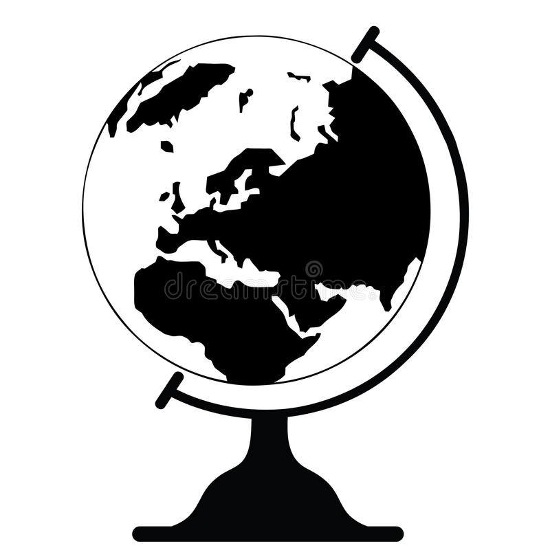 Attractive Download Vector Icon Globe Black And White Stock Illustration    Illustration Of Bokeh, Background: