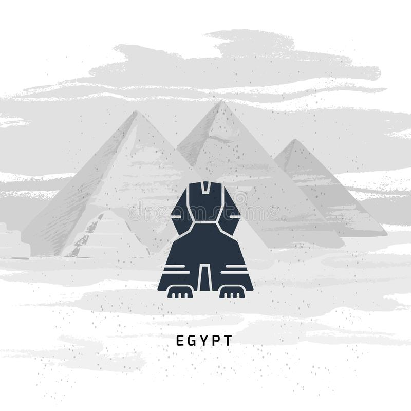 Vector icon of Great Sphinx of Giza isolated on the hand-drawn vector illustration vector illustration
