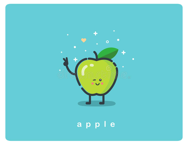 Vector icon of green apple, fruit funny cartoon character royalty free illustration