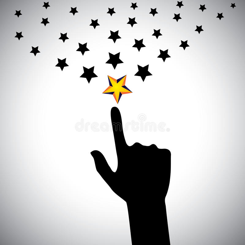 Vector icon of hand reaching for stars - concept of ambition stock illustration