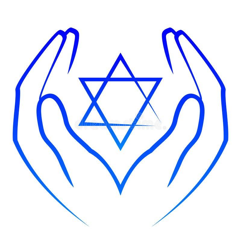 Hands holdin star of David stock illustration