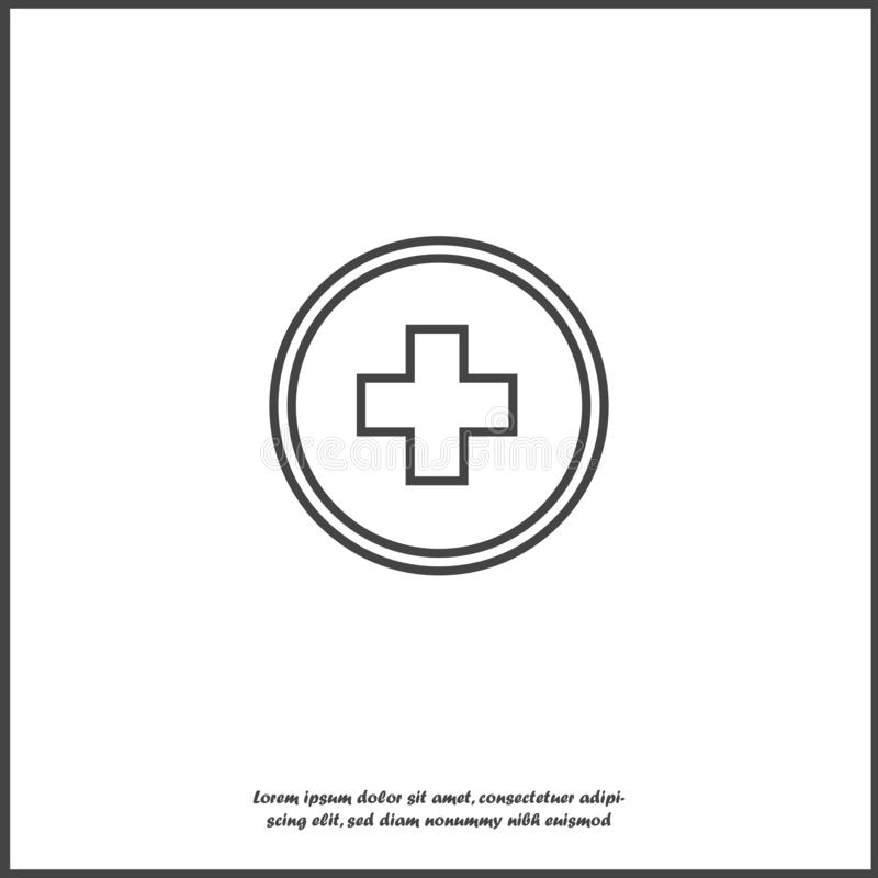 Vector icon hospital medicin. Medical cross illustration in a circle on white isolated background. Layers grouped for easy editing illustration. For your vector illustration