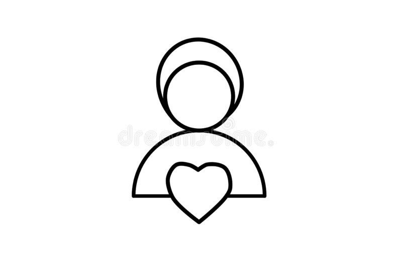 Vector. Icon human and heart. Symbol of love, illustration. Simple graphics for modern design. Feeling and emotion inside a person. Vector. Icon human and heart vector illustration