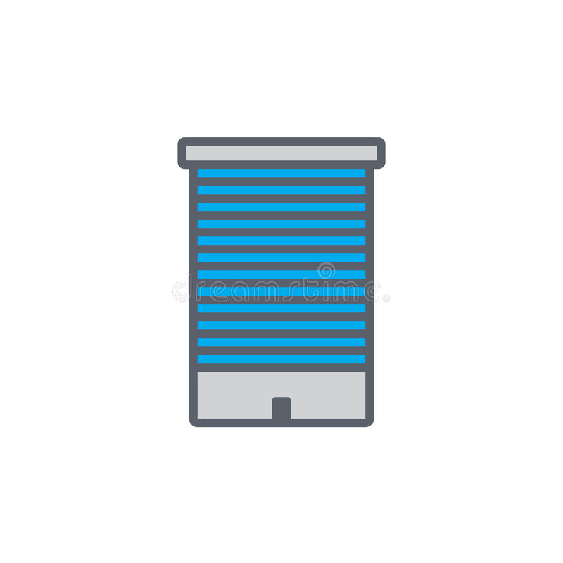Vector icon or illustration with building in outline style vector illustration