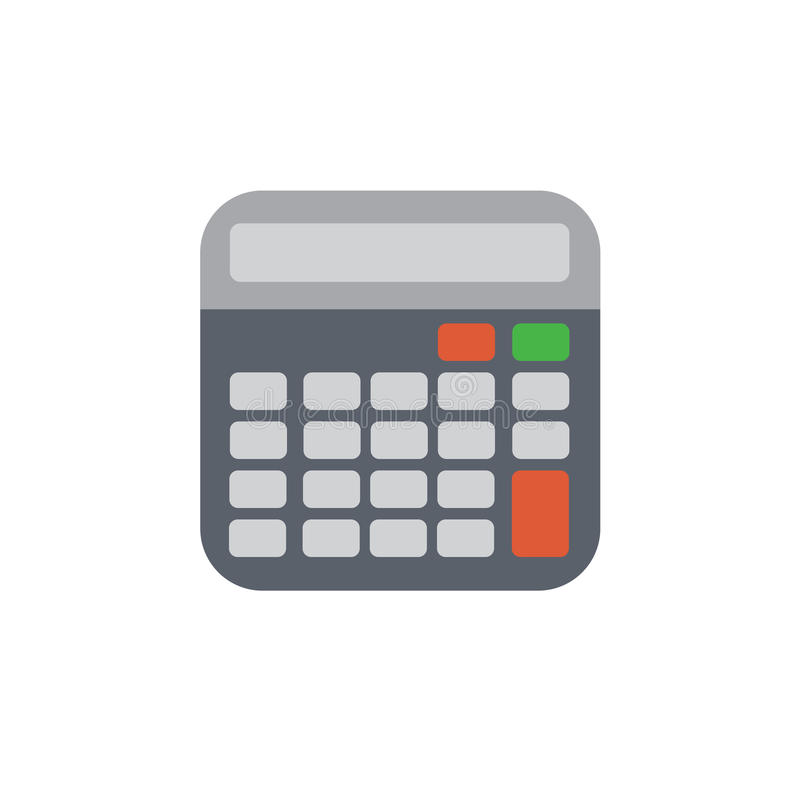 Vector icon or illustration with calculator in material design style. Vector icon or illustration showing computation with calculator in material design style royalty free illustration
