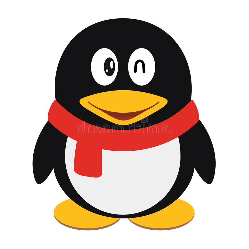 Vector icon illustration of a cute cartoon penguin with scarf isolated.  royalty free illustration