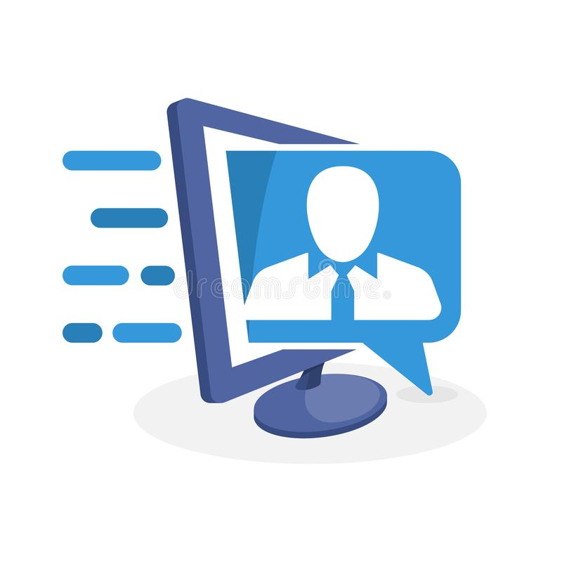 Vector icon illustration with digital media concept about web-based employee information system.  stock illustration