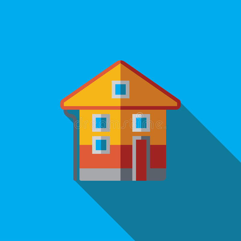 Vector icon or illustration with house in flat design style vector illustration