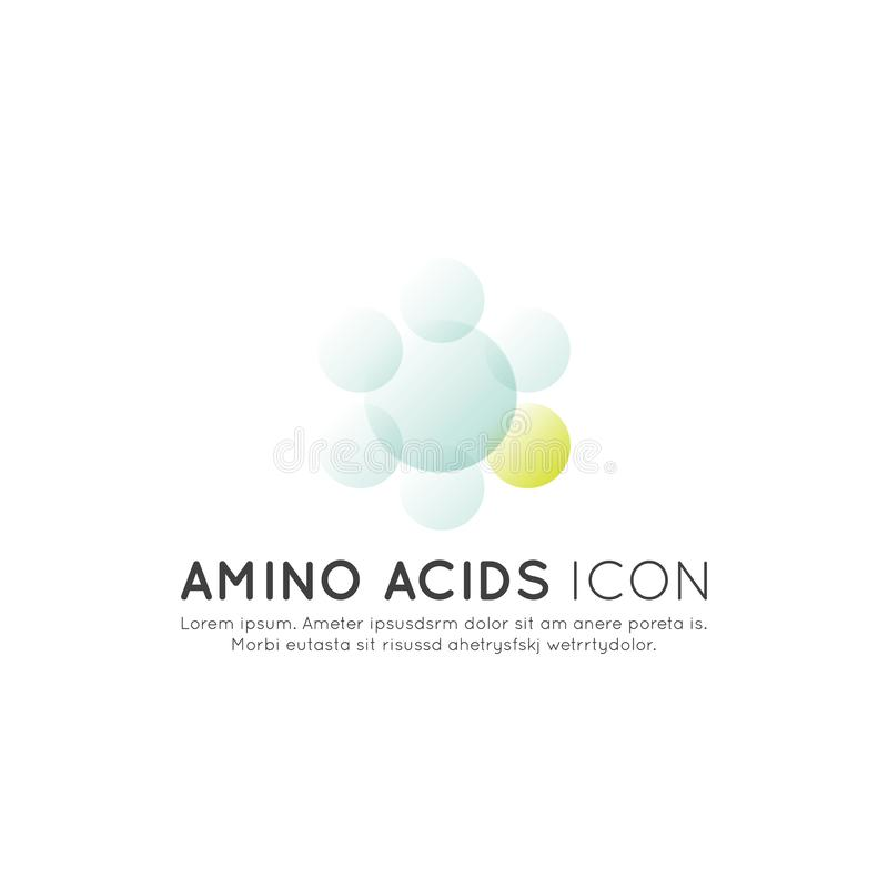 Logo of food supplements, ingredients and vitamins and elements for bio package labels - Amino Acids. Vector Icon Illustration Logo of food supplements vector illustration