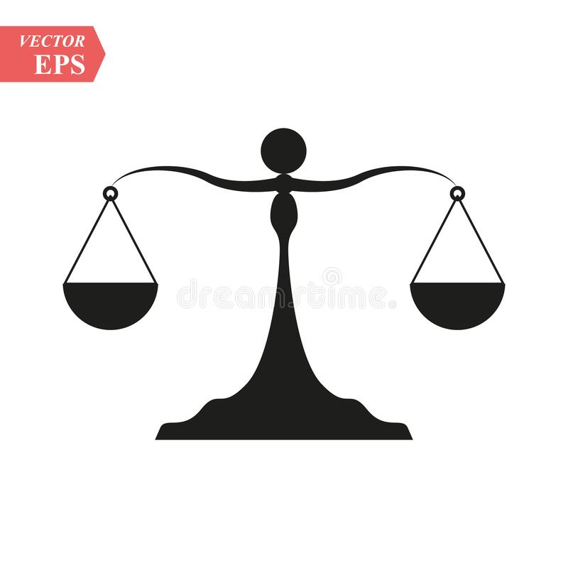 Vector icon of justice scales. Law, Attorneys Icon Vector Logo Template eps 10 royalty free illustration
