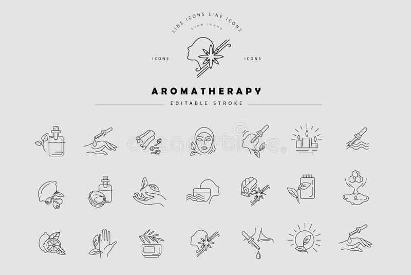 Vector icon and logo for aromatherapy. Editable outline stroke size. Line flat contour, thin and linear design. Simple. Icons. Concept illustration. Sign stock illustration